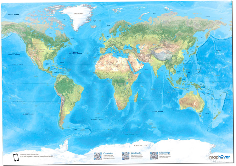 Maphover The Interactive Printed World Map - World interactive map