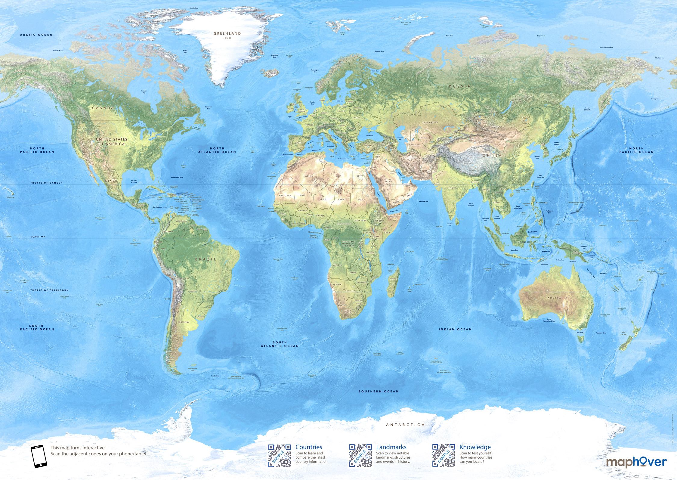 Full Map Of The World.Interactive World Map Poster